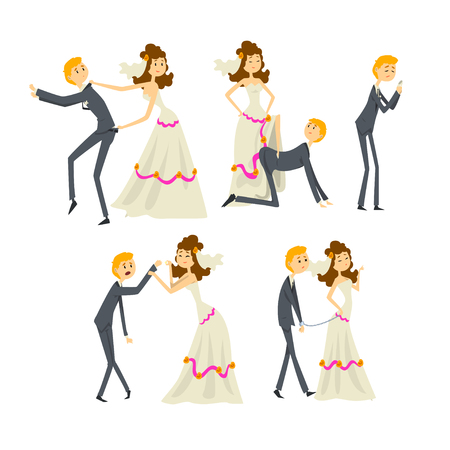 Couple of newlyweds set, henpecked man, husband dominated by wife cartoon vector Illustrations on a white background