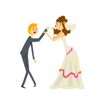 Bride manipulating her groom, couple of newlyweds cartoon vector Illustration on a white background