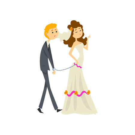 Bride leading her henpecked groom on a leash, couple of newlyweds cartoon vector Illustration on a white background