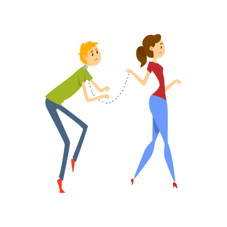 Wife leading her henpecked husband on a leash, husband dominated by wife cartoon vector Illustration on a white background