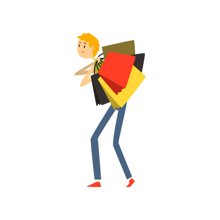 Man loaded with shopping bags cartoon vector Illustration on a white background