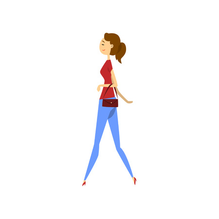 Young woman in fashionable clothes vector Illustration on a white background
