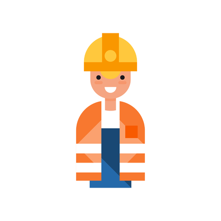 Male construction worker character, man wearing yellow hard hat and orange vest vector Illustration on a white background 向量圖像