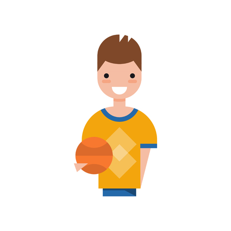 Male basketball player character, smiling guy in sports uniform holding ball vector Illustration on a white background 向量圖像
