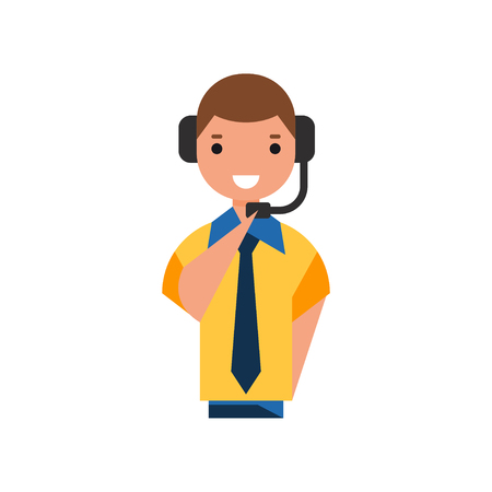 Air traffic controller character, man in uniform with headset vector Illustration on a white background