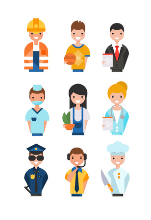 People of different professions set, working people avatars, basketball player, businessman, florist, doctor, policeman, chef,support service operator, nurse vector Illustrations