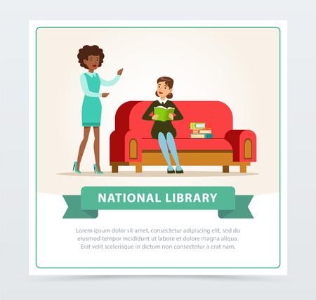 Mujer joven sentada en el sofá y leyendo el libro en la biblioteca, bibliotecaria ayudando al lector, educación, escuela, concepto de estudio y literatura, ilustración vectorial plana de la biblioteca nacional