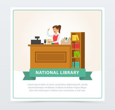 Mujer bibliotecaria en banner de mesa de servicio, concepto de educación, escuela, estudio y literatura, elemento de ilustración de vector plano de biblioteca nacional para sitio web o aplicación móvil