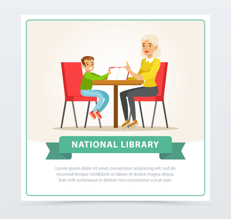 Grandmother reading a book to grandson in library, flat vector illustration element for website or mobile app