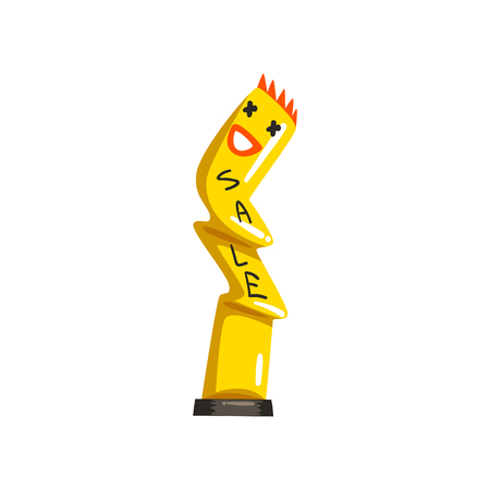 Yellow inflatable tube man for sales and advertising vector Illustrations on a white background