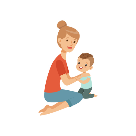 Mom embracing her son, mother hugging her child, happy parenting concept vector Illustration on a white background 일러스트