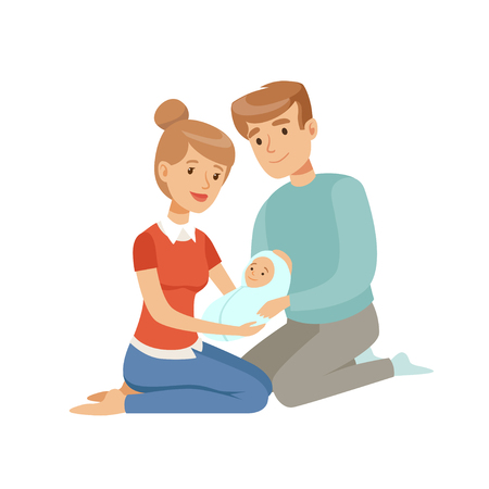 Happy parents embracing their newborn baby, happy family and parenting concept vector Illustration on a white background