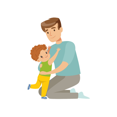 Father embracing his son, dad hugging his child, happy parenting concept vector Illustration on a white background Standard-Bild - 103184694
