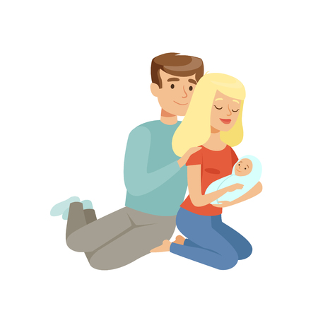 Parents embracing their newborn baby, happy family concept vector Illustration on a white background