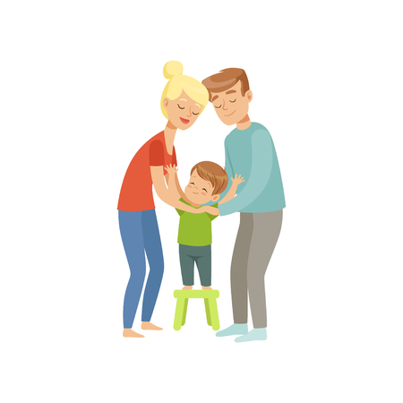 Parents embracing their son, mother and father hugging their kid, happy family and parenting concept vector Illustration on a white background Stock fotó - 103184697