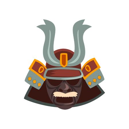 Japanese Samurai warrior mask vector Illustration on a white background Illustration