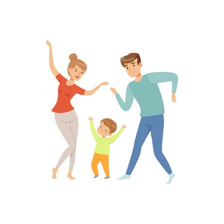 Mamá y papá bailando con su pequeño hijo, familia feliz y vector de concepto de crianza de los hijos ilustración sobre un fondo blanco