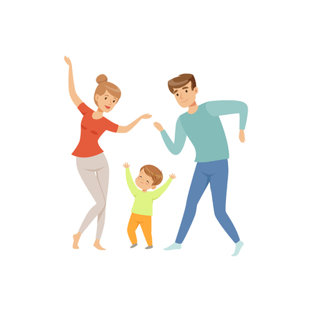 Mom and dad dancing with their little son, happy family and parenting concept vector Illustration on a white background Zdjęcie Seryjne - 103180826