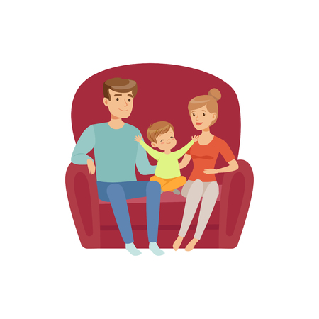Mom, dad and their little son sitting on the sofa, happy family and parenting concept vector Illustration on a white background