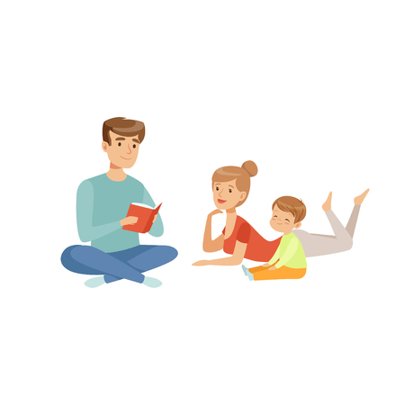 Family reading a book together, happy family and parenting concept vector Illustration on a white background  イラスト・ベクター素材