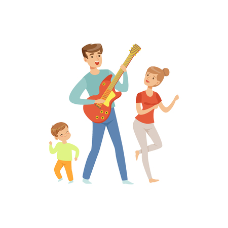Dad playing guitar while his son and wife dancing, happy family and parenting concept vector Illustration on a white background