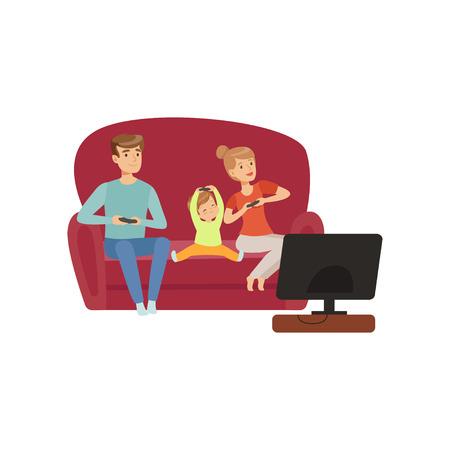Mamá, papá y su pequeño hijo sentados en el sofá y viendo la televisión, familia feliz y vector de concepto de crianza de los hijos ilustración sobre un fondo blanco Ilustración de vector