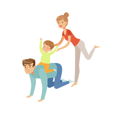 Mom, dad and their son having fun together, boy riding on his fathers back, happy family and parenting concept vector Illustration on a white background Illustration
