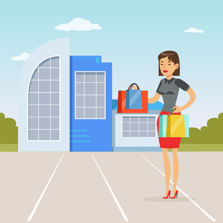 Fashionable girl standing in front of shopping mall with purchases, people shopping concept vector Illustration
