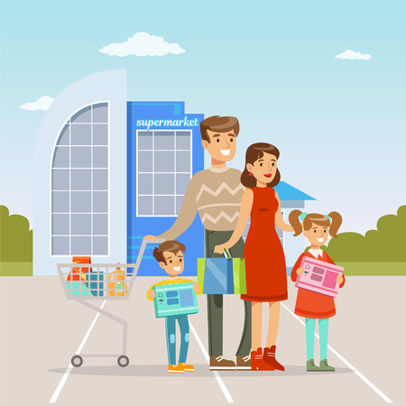 Parents and their two kids standing in front of shopping mall with shopping cart, people shopping concept vector Illustration