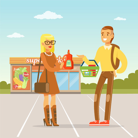 Young couple standing in front of supermarket with purchases, people shopping concept vector Illustration
