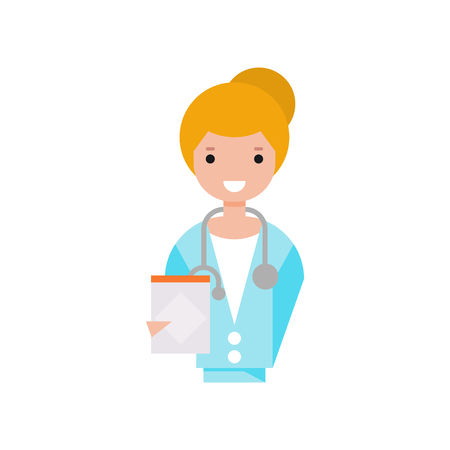 Female doctor character, girl in white coat with stethoscope holding clipboard vector Illustration on a white background