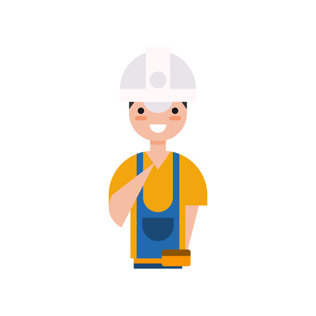 Construction worker character, builder in overall and protective helmet vector Illustration on a white background