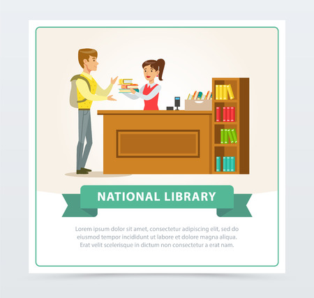 Female librarian assisting reader at service desk, education, school, study and literature concept, national library flat vector illustration element for website or mobile app