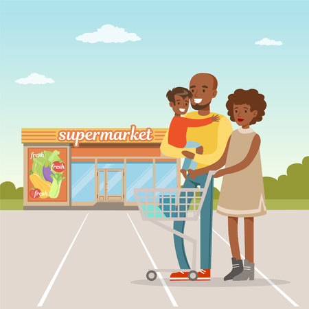 African american family standing in front of supermarket building with shopping cart, people shopping concept vector Illustration