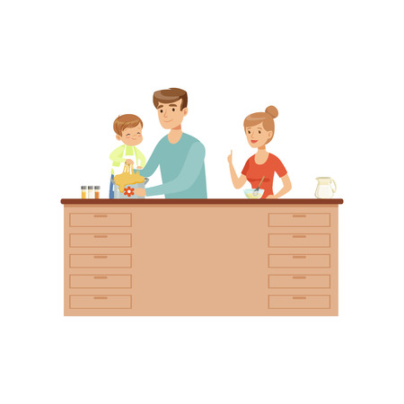 Mom, dad and their little son cooking together, happy family and parenting concept vector Illustration on a white background