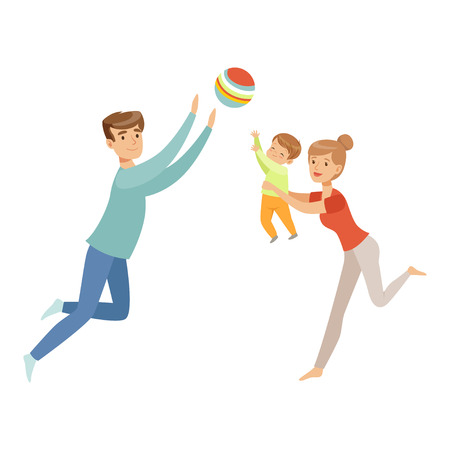 Mom, dad and their little son playing ball together, happy family and parenting concept vector Illustration on a white background Vectores