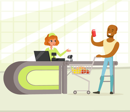 Female cashier and buyer with purchases, young african american man shopping in supermarket vector Illustration
