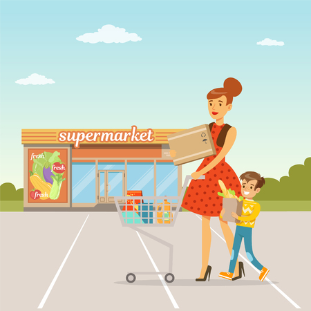 Young woman and her little son standing in front of supermarket building with shopping cart, people shopping concept vector Illustration