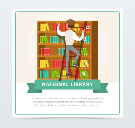Man looking for book on shelves in library, education, school, study and literature concept, national library flat vector illustration element for website or mobile app