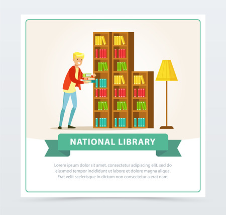 Young man choosing books on shelves in library, education, school, study and literature concept, national library flat vector illustration element for website or mobile app