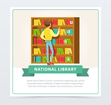 Young man standing in front of bookshelves and choosing books in library, education, school, study and literature concept, national library flat vector illustration element for website or mobile app