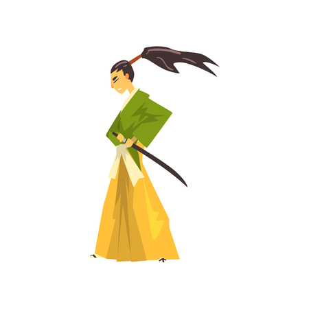 Samurai cartoon character, Japanese warrior in traditional clothes vector Illustration on a white background Illustration