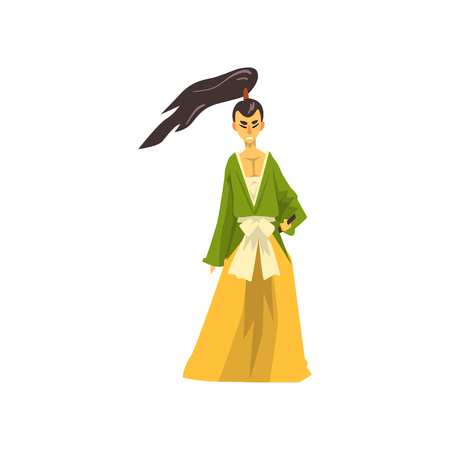 Samurai cartoon character, Japanese warrior wearing in traditional kimono vector Illustration on a white background