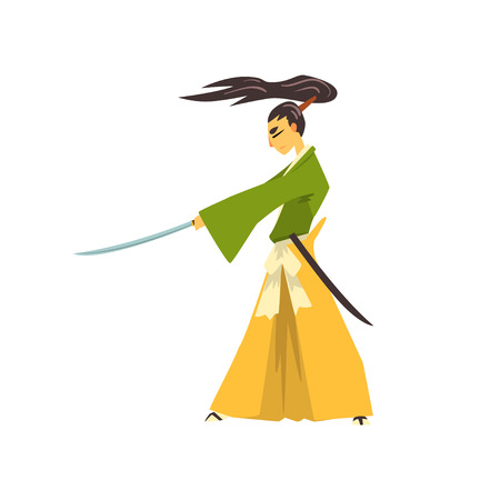 Samurai cartoon character with katana, Japanese warrior in traditional clothes vector Illustration on a white background Illustration