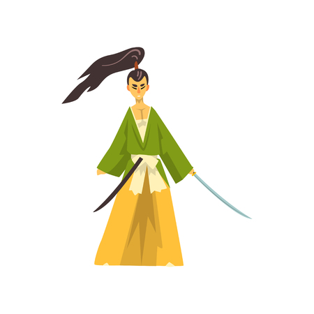 Armed Samurai cartoon character, Japanese warrior in traditional clothes vector Illustration on a white background Illustration
