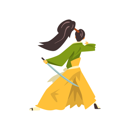 Samurai cartoon character fighting with katana, Japanese warrior wearing in traditional kimono vector Illustration on a white background  イラスト・ベクター素材