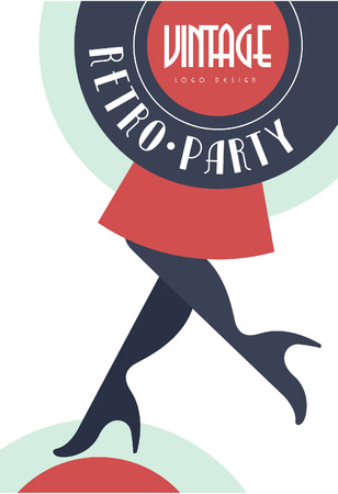 Vintage retro party, design element for poster, banner, flyer, card, brochure, invitation card vector Illustration