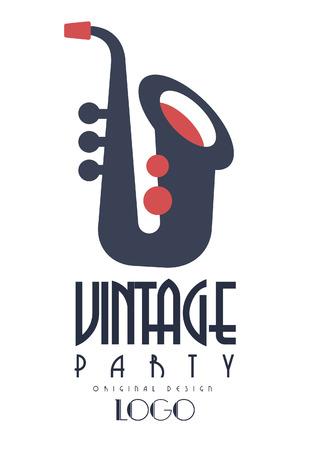 Retro vintage party oroginal design, emblem with saxophone for poster, banner, flyer, card, brochure, invitation card vector Illustration