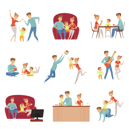 Mom, dad and their little son spending time together set, happy family and parenting concept vector Illustration on a white background