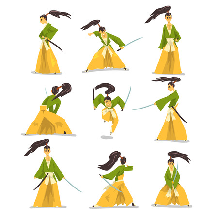 Samurai cartoon character set, Japanese warrior in traditional clothes fighting with katana sword vector Illustration on a white background